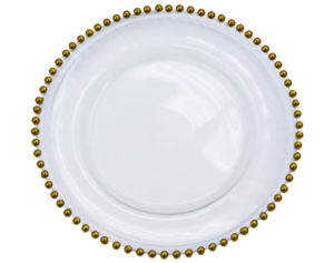 Crystal Charger Plate Beaded Gold